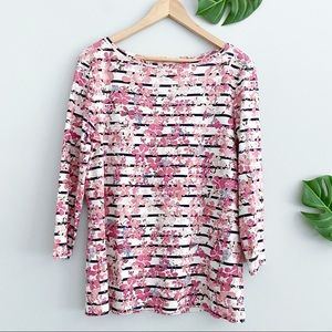 TALBOTS Pink Striped Floral Cotton Longsleeve Top